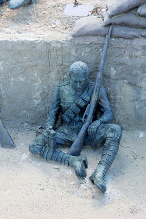 trenches: Sad soldier in trenches of Eceabat Editorial