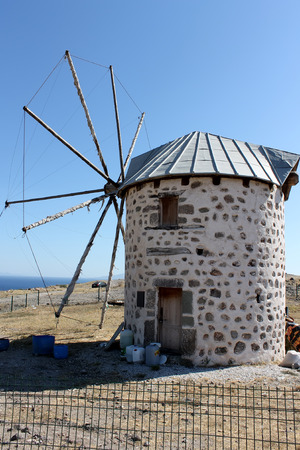 remained: Bodrum, Turkey - 24 06 2014 - The only windmill that remained functional in Bodrum, Turkey