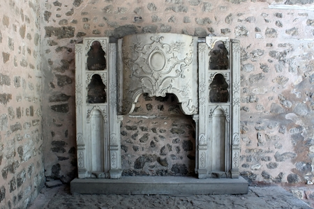 caved: Istanbul, Turkey - 30 06 2014 - Very old preserved stone at Topkapi palace Editorial
