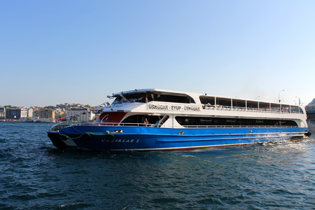 gullet: Istanbul, Turkey - 30 06 2014 - Passenger boat on gullet Bosphorus waters
