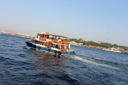 gullet: Istanbul, Turkey - 30 06 2014 - Boat with tourists on Bosphorus gullet