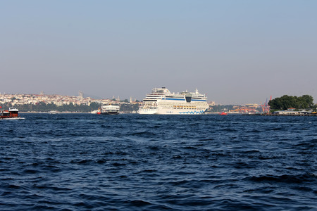 gullet: Istanbul, Turkey - 30 06 2014 - Cruiser ship on Bosphorus gullet