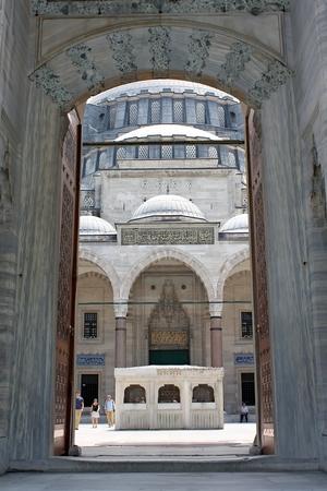 Istanbul, Turkey - 01 07 2014 - Principalgate of Suleymaniye Mosque
