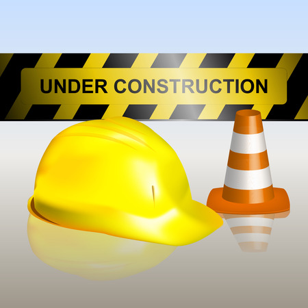 Under construction signboard with traffic cone and helmet Vector