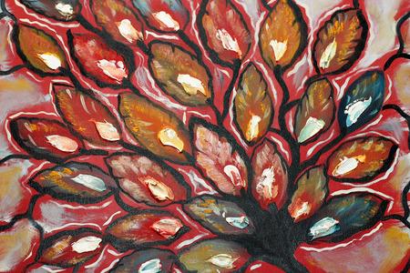 Autumn tree painted on canvas Stock Photo