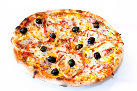 Pizza isolated over white background photo