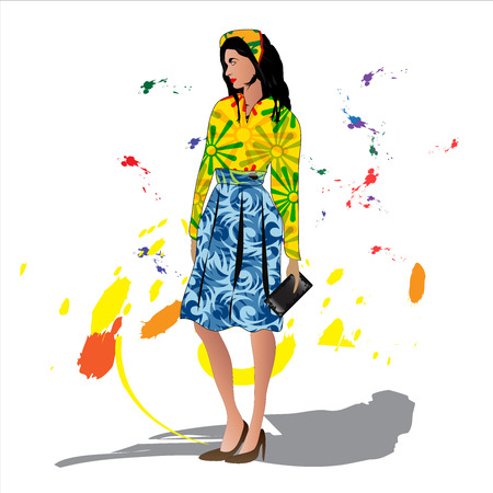 Fashion woman, graphic illustration Vector