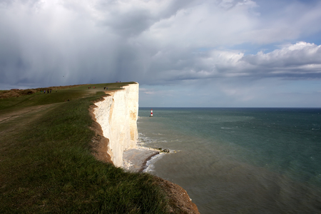 seven sisters: Lighthouse at Seven Sisters cliffs from United Kingdom