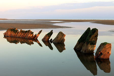 Dusk scene at Camber Sands beach Stock Photo