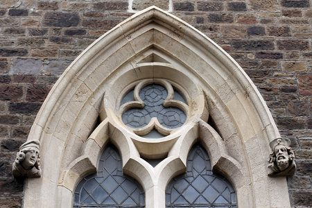 Old gothic cathedral window from Ilfracombe church Stock Photo