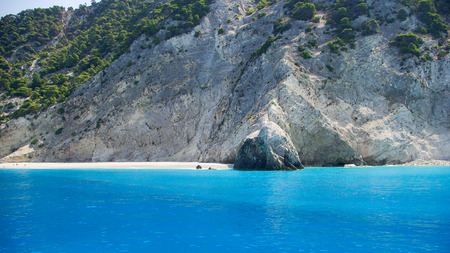 View from the sea of Egremni beach in Lefkada, Ionion sea, Greece photo
