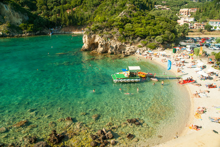 Summer view over the Ionian Sea, Paleokastritsa resort, Corfu Island, Greece, Europe