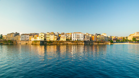 kerkyra: Corfu town - Greece. View from the sea. Looking towards the buildings of Corfu Town from Kerkira harbour on the Greek island of Corfu. Corfu is the second largest of the Ionian islands.