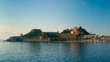 Corfu town - Greece. View from the sea. Looking towards the buildings of Corfu Town from Kerkira harbour on the Greek island of Corfu. Corfu is the second largest of the Ionian islands.