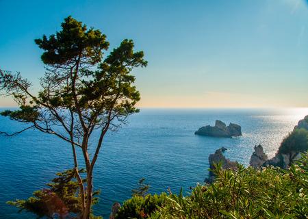 Summer view over the Ionian Sea, Paleokastritsa resort, Corfu Island, Greece, Europe photo