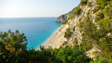 Egremni Beach, Lefkada Island, Ionion Sea, Greece. Beautiful summer at Egremni Beach in Lefkada Island, Ionian Sea, Greece photo