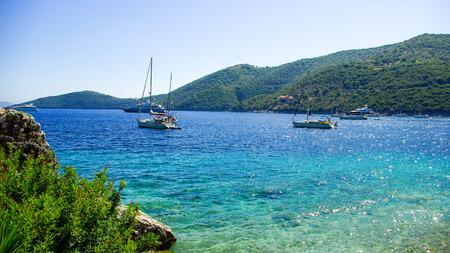 Mikros Gialos bay, Lafkada, Lefka, Levka island, Greece. The beautiful bay of Gialos, on the island of Lefkada in Greece