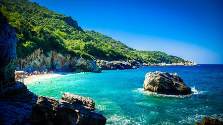 Mylopotamos Beach, Pelion, Greece. Beach of Mylopotamos near Tsagarada village Pelio, one of the most beautiful beaches in Greece Фото со стока