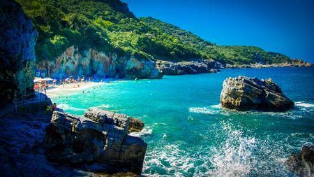 thessalia: Mylopotamos Beach, Pelion, Greece. Beach of Mylopotamos near Tsagarada village Pelio, one of the most beautiful beaches in Greece Stock Photo