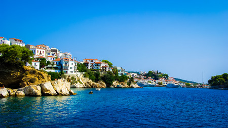 skiathos: Skiathos town in Skiathos Island, Greece. Skiathos Island is located in the northern part of Sporades islands group. The main towns are the Town of Skiathos, it is located to the northeast next to a lagoon.