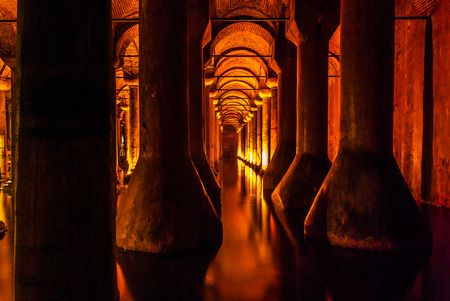 justinian: Underground in basilica cistern. Byzantine water reservoir build by Emperor Justinian Editorial