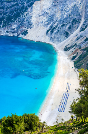 cefalonia: Myrtos beach, Kefalonia island, Greece. Beautiful view of Myrtos bay and beach on Kefalonia island Stock Photo