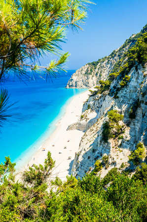 Egremni beach, Lefkada island, Greece. Large and long beach with turquoise water on the island of Lefkada in Greece Reklamní fotografie - 43473198