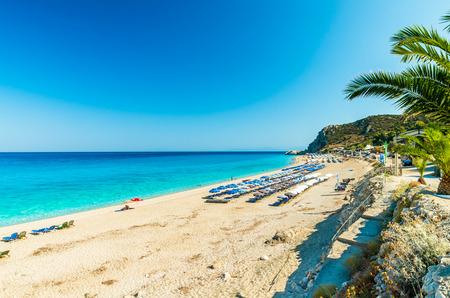Kathisma Beach, Lefkada Island, Greece. Kathisma Beach is one of the best beaches in Lefkada Island in Ionian Sea Фото со стока