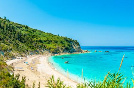 Avali beach, Lefkada island, Greece. Beautiful turquoise sea on the island of Lefkada in Greece. Фото со стока