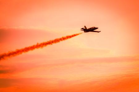 airshow: Airplanes on airshow. Aerobatic team performs flight