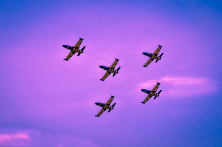 aerobatic: Aerobatic team performs flight