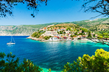 greece shoreline: Assos on the Island of Kefalonia in Greece. View of beautiful bay of Assos village, Kefalonia island, Greece