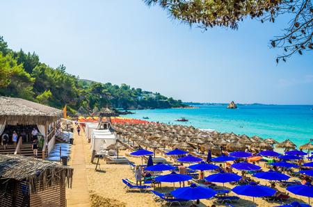 cefallonia: Platis Gialos and Makris Gialos Beach, Kefalonia island, Greece.  Spectacular view over the beaches of Platis Gialos and Makris Gialos near Lassi, Argostoli.