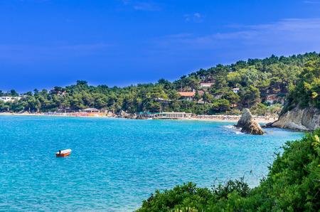 kefallonia: Platis Gialos and Makris Gialos Beach, Kefalonia island, Greece. Spectacular view over the beaches of Platis Gialos and Makris Gialos near Lassi, Argostoli.