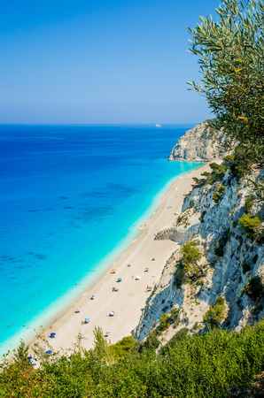 azure: Egremni beach, Lefkada island, Greece. Large and long beach with turquoise water on the island of Lefkada in Greece