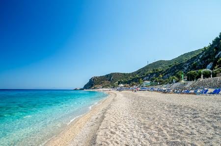Kathisma Beach, Lefkada Island, Greece. Kathisma Beach is one of the best beaches in Lefkada Island in Ionian Sea Reklamní fotografie - 46783758
