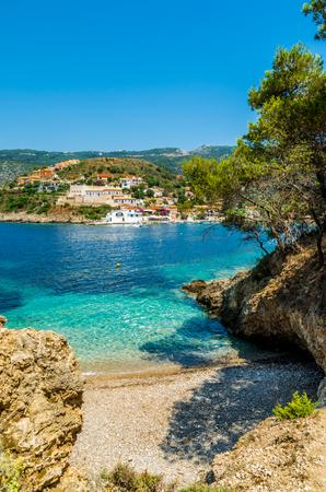 cefalonia: Assos on the Island of Kefalonia in Greece. View of beautiful bay of Assos village, Kefalonia island, Greece