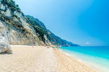 ionio: Egremni beach, Lefkada island, Greece. Large and long beach with turquoise water on the island of Lefkada in Greece