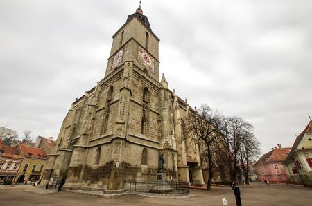 Black Church in Brasov, Romania. Black Church is a famous medieval church in Transylvania. Фото со стока