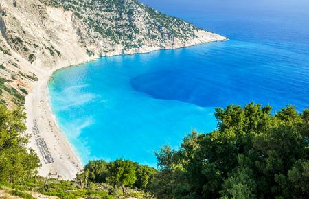 Myrtos beach, Kefalonia island, Greece. Beautiful view of Myrtos bay and beach on Kefalonia island Stock Photo