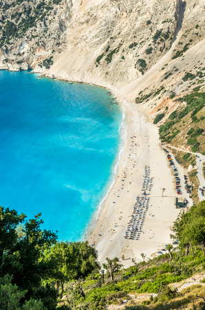 cefalonia: Myrtos beach, Kefalonia island, Greece. Beautiful view of Mirtos bay and beach on Kefalonia island