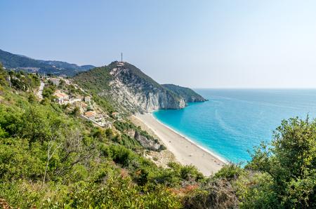 Milos beach on Lefkada island, Greece. Milos beach near the Agios Nikitas village on Lefkada, Greece Stock Photo