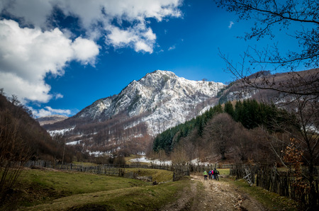 superb: Panoramic view of beautiful mountain landscape in spring. Springtime in mountains. Stock Photo