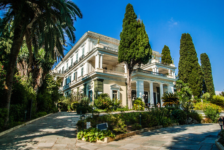 buit in: Achilleion Palace, Corfu Island, Geece. It was buit by Empress of Austria, Elisabeth of Bavaria, also known as Sisi in 1890.