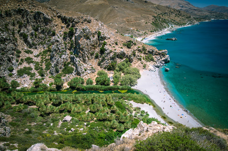 preveli: Preveli Beach in Crete island, Greece. There is a palm forest and a river inside the gorge near this beach.