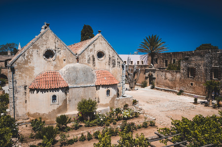 kreta: Arkadi monastery on Crete island, Greece. Ekklisia Timios Stavros - Moni Arkadiou in Greek. It is a Venetian baroque church. Stock Photo