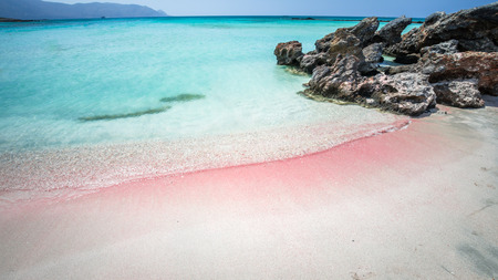 Elafonisi Lagoon, Crete Island, Greece. Elafonissi beach is one of the best beaches of Europe. There are pink sand. Zdjęcie Seryjne