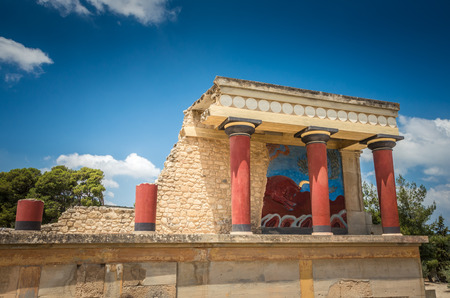 colonnade: Knossos palace, Crete island, Greece. Detail of ancient ruins of famous Minoan palace of Knosos.