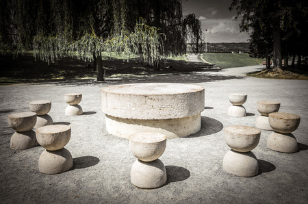 constantin: The Table Of Silence. It is a stone sculpture made by Constantin Brancusi. Its locateted in Targu Jiu, Romania. Stock Photo