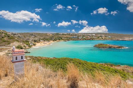 kreta: Kalathas beach, Crete Island, Greece. Kalatha is one of the best beaches in Creta